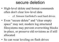 Findings on secure data deletion