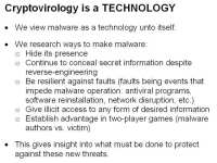 Viewing malware as a technology