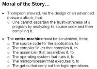 It takes analyzing the whole machine to ascertain a program's trustworthiness