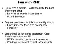 Experimenting with RFID chips