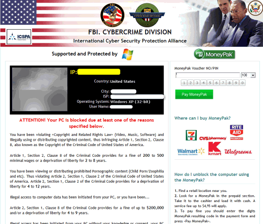 FBI Cybercrime Division phony block page