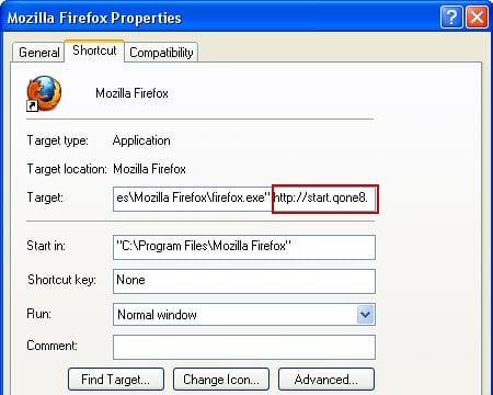 Remove Start.qone8.com from Firefox shortcut settings