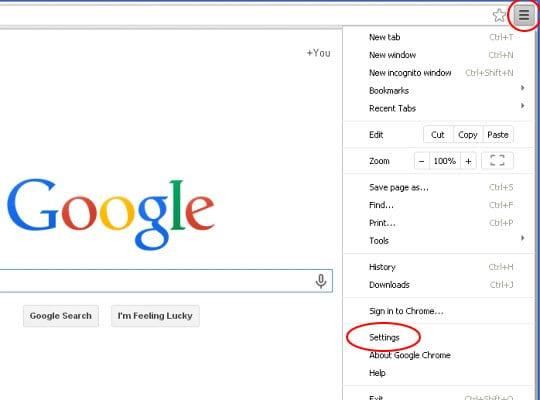 Access Chrome settings