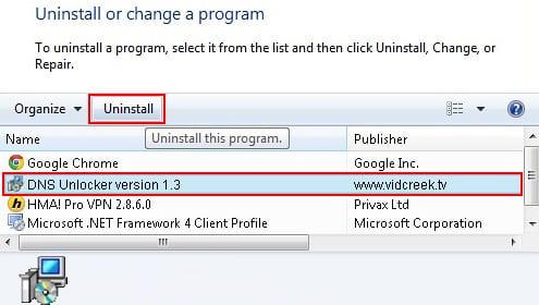 Uninstall DNS Unlocker