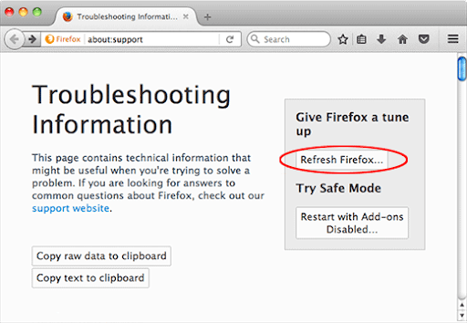 Refresh Firefox on Mac computer