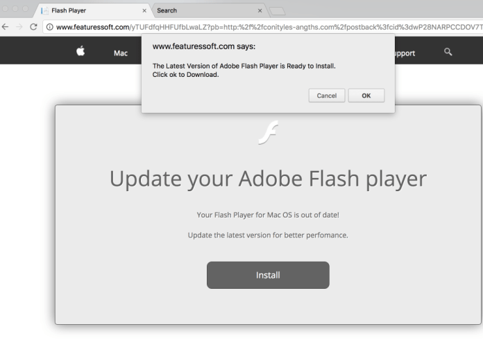 Fabricated Adobe Flash Player update pop-up spreading Akamaihd.net threat