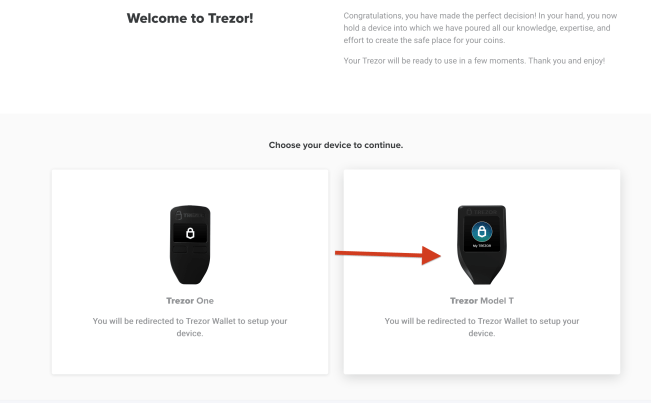 Redirect to trezor model t