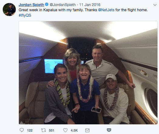 PGA golfer Jordan Spieth on a NetJets private jet
