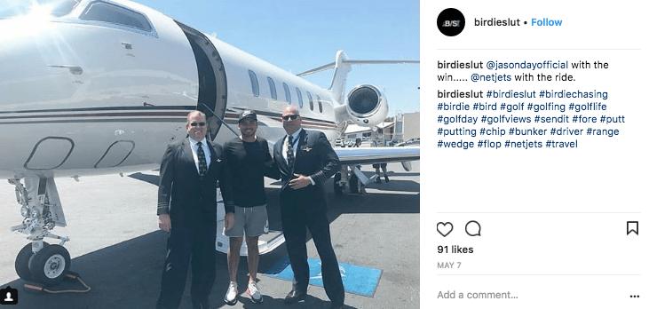 PGA golfer Jason Day boarding a NetJets private jet