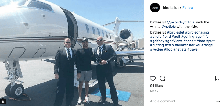 PGA golfer Jason Day boarding a NetJets private jet