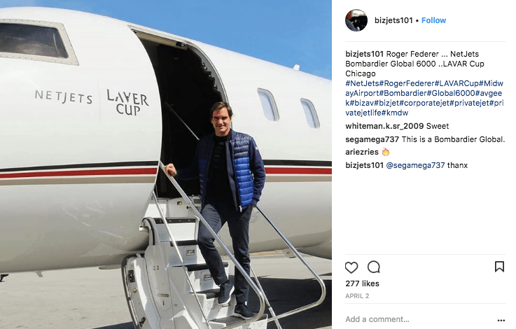 Tennis great Roger Federer on a NetJets private jet