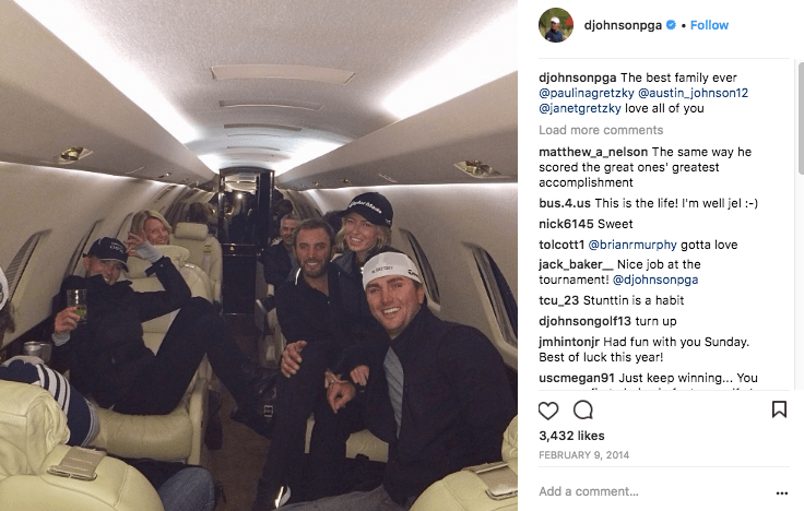 PGA Golfer Dustin Johnson on a NetJets private jet