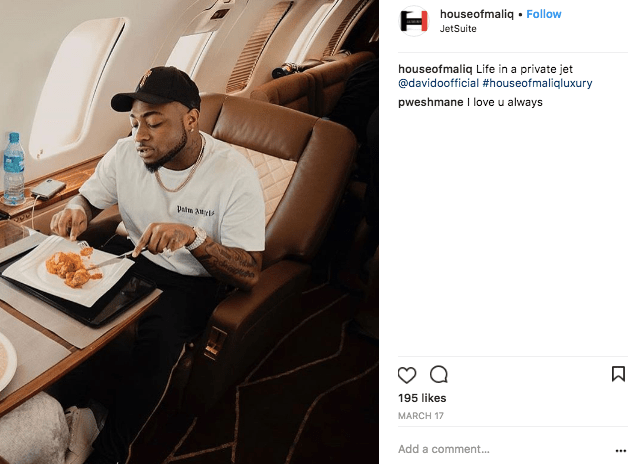 Davido Adeleke on a private jet