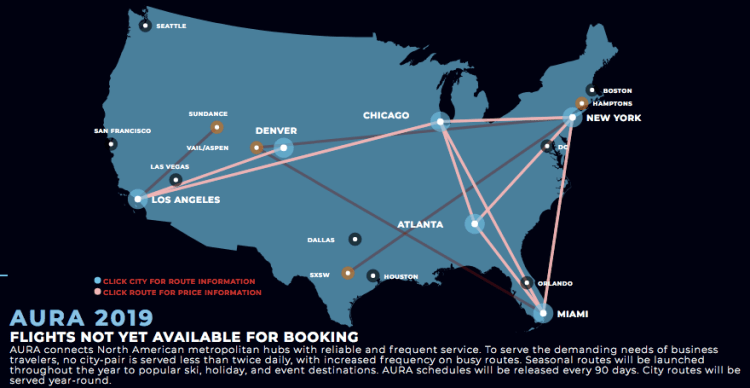 AURA private jet airline route map