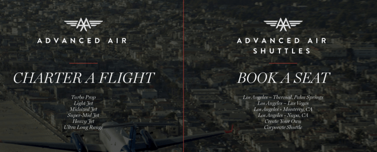 Advanced Air already operates by-the-seat private jet shuttle flights