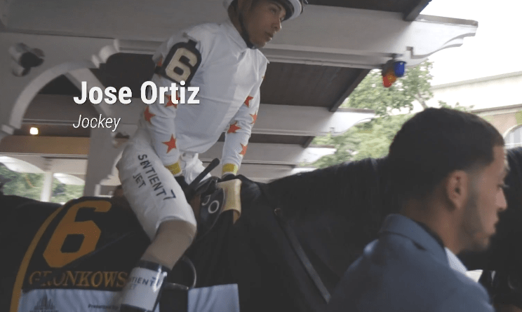 Jose Ortiz on Gronkowski before the 2018 Belmont Stakes