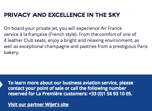 Air France Wijet private jet charter for first class passengers