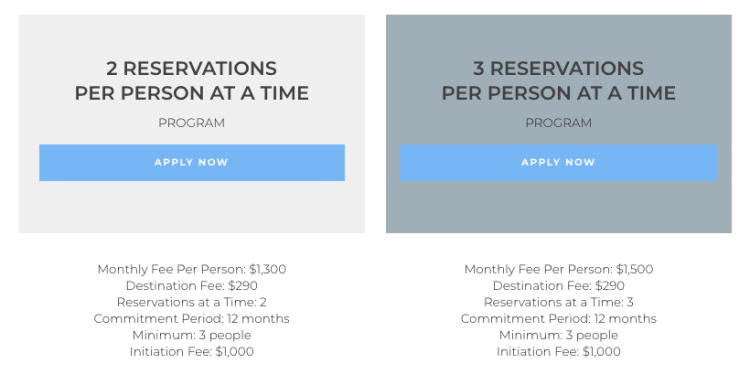 Tuxedo Air corporate membership pricing
