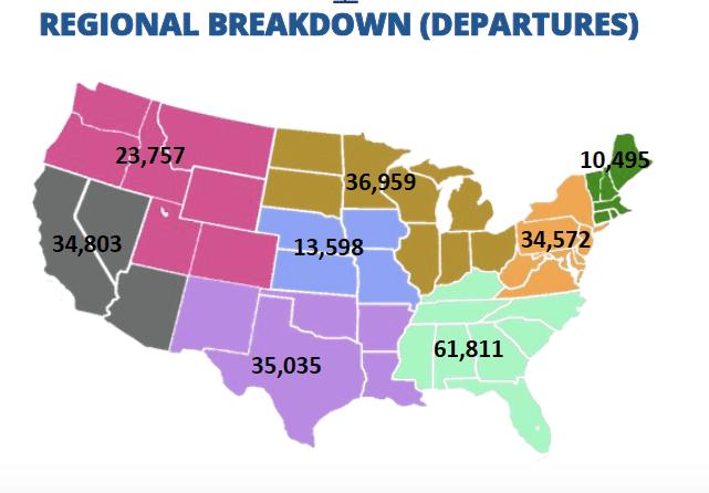 Private jet flights by region