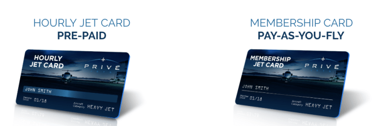 Prive Jets jet card pricing