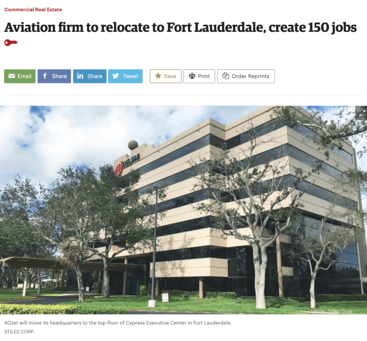 XOJet moves to Fort Lauderdale