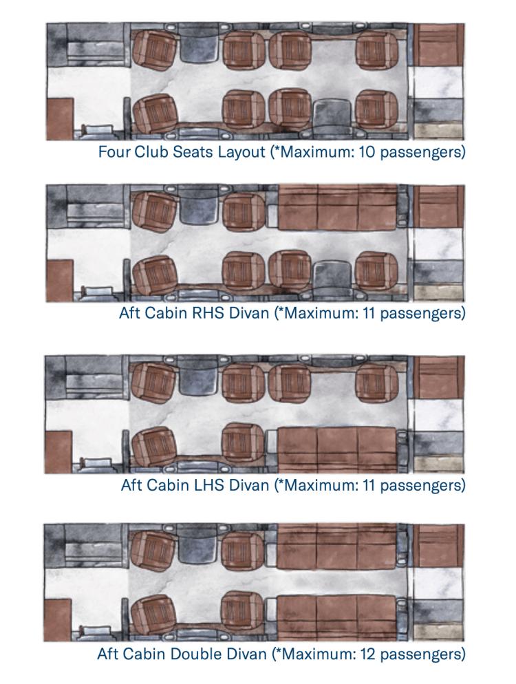 Embraer Praetor 600 cabin configuration