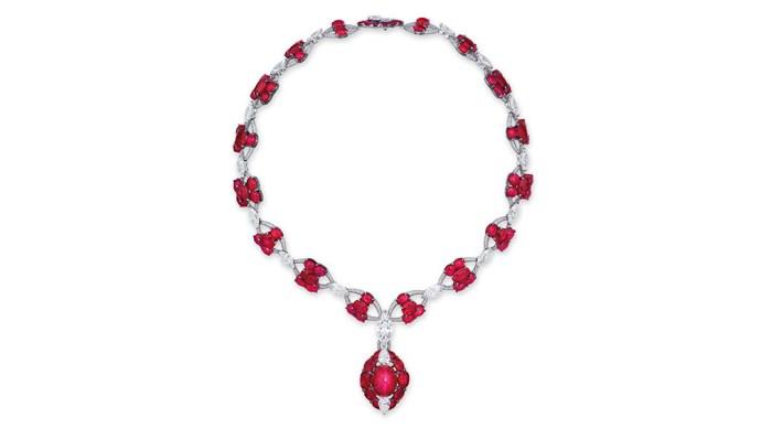 Burmese star ruby and diamond necklace,