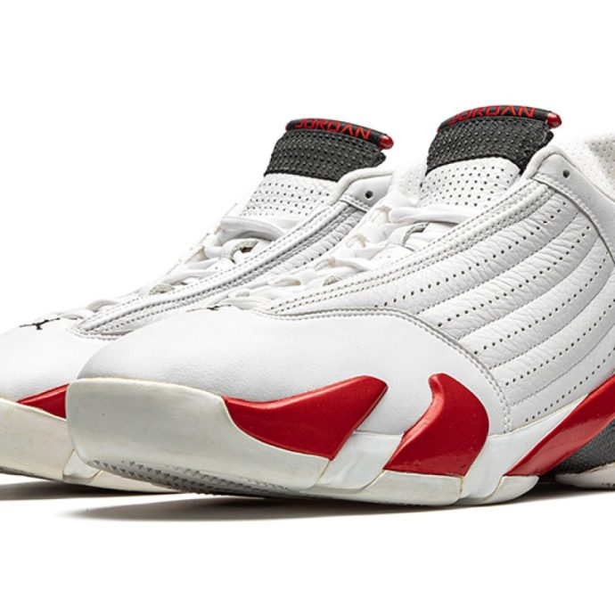 """Lot 11 is a pair of """"Chicago"""" Air Jordan 14 sneakers that can be seen in The Last Dance."""