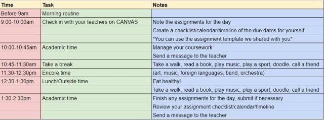 sample home school schedule