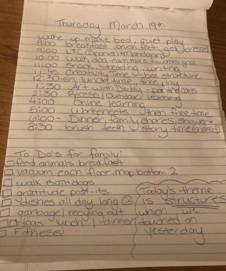 Sample homeschooling schedule