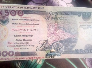 Too Much Money As Rich Men Print 'Wedding Invite' on Naira Note