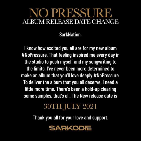 Check Out The Full Track List Of Sarkodie's 'No Pressure' Album; Set To Be Released On July 30.