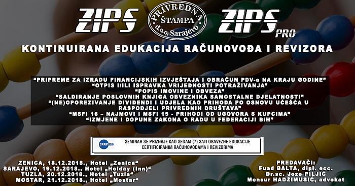 Peti ciklus ZIPSpro edukacije počinje 18. decembra u Zenici