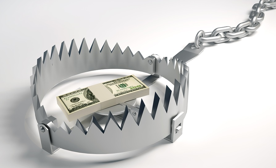 Dollars Stack Sitting On Bear Trap - 3d Render