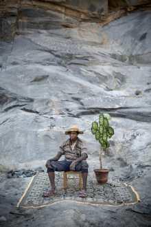 Alexia Webster, Jaspera Rahatavola, a rock breaker at the Ambohitrombihavana granite rock quarry outside of Antananarivo, Madagascar, poses for his...