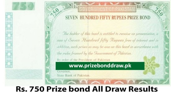 Rs. 750 Prize bond Draw All Results