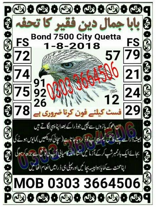 Baba Jamal Din Faqeer ka Tohfa 7500 Prize Bond Guess Paper August 2018