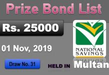 Rs 25000 Prize bond Draw No.31 - 01 November 2019 Multan