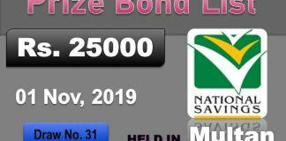 Rs 25000 Prize bond Draw No.31 - 01 November 2019 Multan
