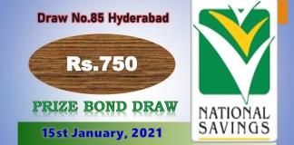 Rs. 750 Prize Bond List 15 January 2021, Prizebond Result 2021 Draw No 85 at Hyderabad