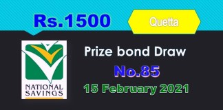 Rs. 1500 Prize bond List 15 February 2021 Draw 85