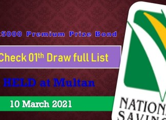 Rs. 25000 Premium Prize bond List 10 March 2021