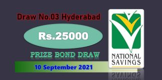 Rs. 25000 Premium Prize bond List 10 September 2021 Draw No.03 Hyderabad Results online