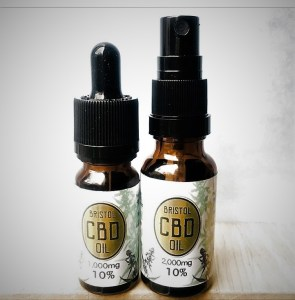 2 bottles of Briston CBD oil, one dropper top and one spray