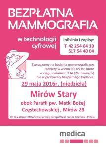 mammografia Mirów Stary maj 2016