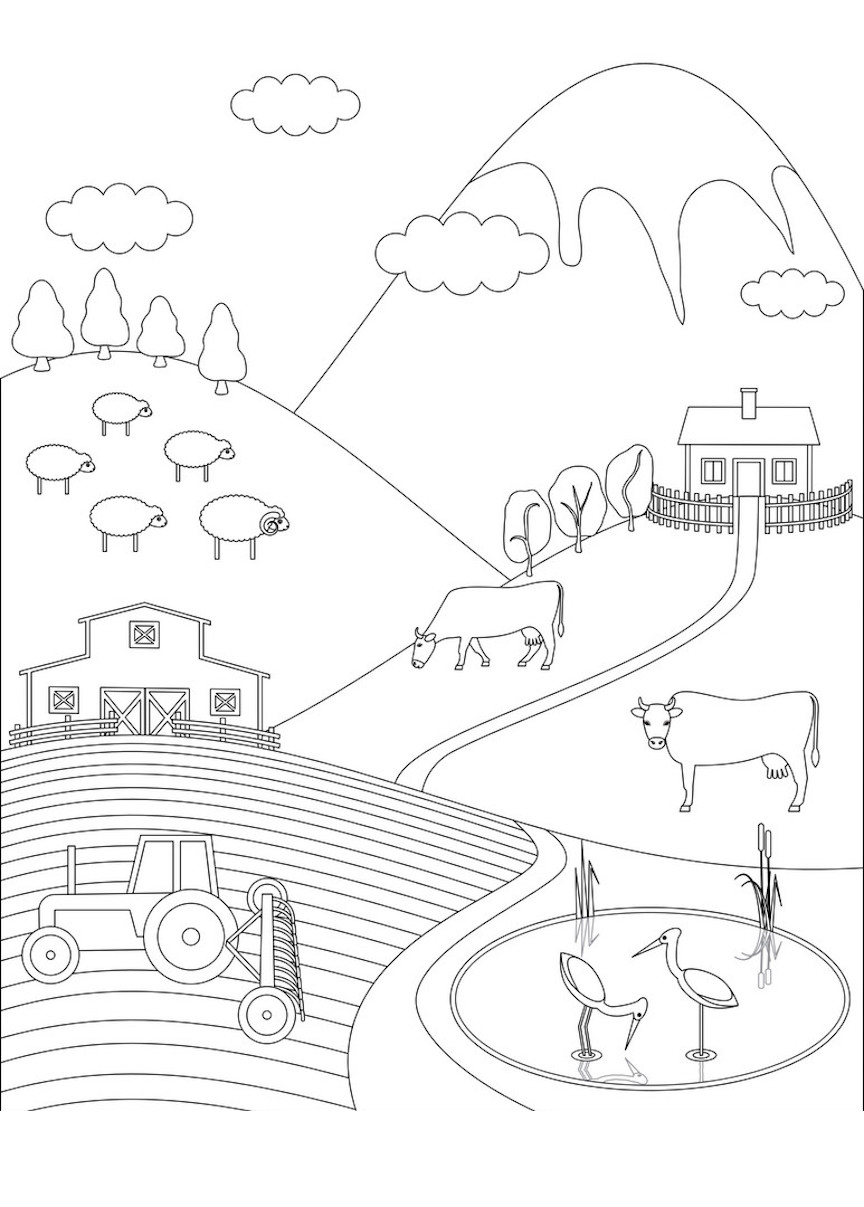 Farm Clipart Black And White : clipart, black, white, Clipart,, Coloring, Pages,, Other, Printable, Design, Themes