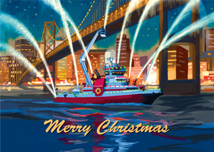 IAFF Holiday Cards IAFF Fire Boat Merry Christmas
