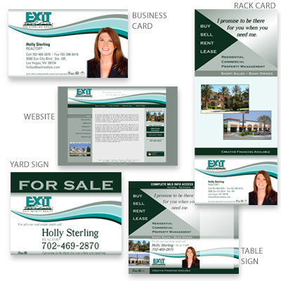 Marketing collateral design pro file marketing custom business cards rack cards front yard sign table sign design and printing website design client exit realty the sterling group las vegas nv reheart Image collections