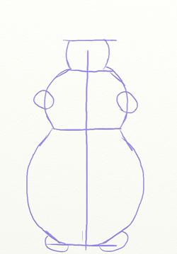 Изобразим общий контур снеговика