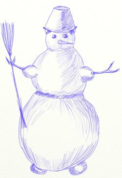 Заканчиваем рисовать нашего снеговичка